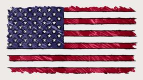 Stop motion of marker drawn USA flag cartoon animation - new quality national patriotic colorful symbol video footage. Stop motion of pencil drawn USA flag stock video footage