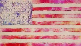 Stop motion of watercolor drawn USA flag cartoon animation seamless loop - new quality national patriotic colorful. Stop motion of pencil drawn USA flag cartoon stock video