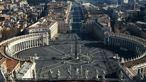 Stop motion video of the Saint Peter`s square, view from the dome of Saint Peter Basilica in the Rome, Italy. Famous city sight full of people. Beautiful stock footage