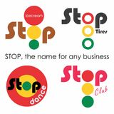 Stop, the name for any business. Logo for your need stock illustration