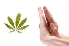 Stop narcotic !. Hands men refuse from marijuana Royalty Free Stock Image