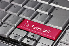 Stop we need a time-out. Push the time-out button and have a break Stock Photo