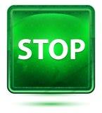 Stop Neon Light Green Square Button vector illustration