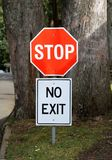 Stop and no exit signs Stock Photography
