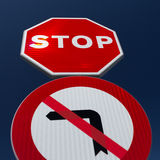 STOP and no left turn signs Royalty Free Stock Photos