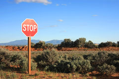 Stop nuclear power plants. Stop sign in the middle of nowhere Stock Photography