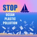 Stop ocean plastic pollution. Ecological poster with text. Sunset, sunrise, boat and garbage. Contrast. There are plastic garbage vector illustration