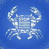 Stop ocean plastic pollution. Ecological poster Crab composed of white plastic waste bag, bottle on blue background. Plastic vector illustration