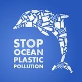 Stop ocean plastic pollution. Ecological poster. Dolphin composed of white plastic waste bag, bottle on blue background royalty free illustration