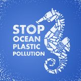 Stop ocean plastic pollution. Ecological poster Sea-horse composed of white plastic waste bag, bottle on blue background. Plastic royalty free stock images
