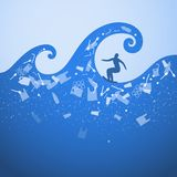 Stop ocean plastic pollution. Ecological poster. Surfer on the waves. There are plastic garbage, bottle, bag on blue background in stock illustration