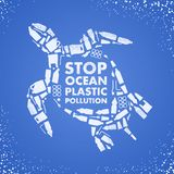 Stop ocean plastic pollution. Ecological poster. Turtle composed of white plastic waste bag, bottle on blue background.  stock illustration
