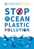 Stop ocean plastic pollution vector illustration. Plastic garbage, bag, bottle in the ocean graphic design. Water waste problem creative concept. Eco problem Stock Photo