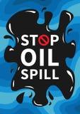 Stop oil spill vector illustration. Ocean toxic oil pollution graphic design Stock Photo