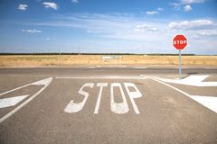 Stop On Crossroads Royalty Free Stock Photos