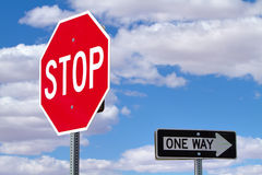 Stop and one way sign Royalty Free Stock Images