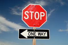 Stop One Way signs Stock Image