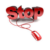 Stop online. 3D rendering of the word stop in red connected to a computer mouse Stock Images