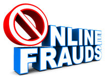Stop online fraud. Word over white background, text in blue, stop sign in red, concept of protection of online information and financial data Stock Photos