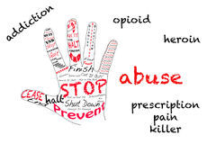 Stop opioid addiction. Outline of hand signalling stop with text opioid, heroin, pain kiiler, addiction and abuse on white Stock Photography