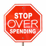 Stop Over Spending Sign Save More Money Budget Royalty Free Stock Photo