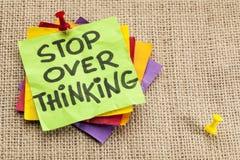 Stop overthinking reminder Stock Photography
