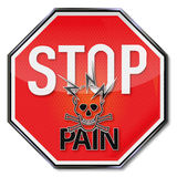 Stop for pain, lightning and skull Royalty Free Stock Photo