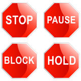 Stop, pause, block and hold sign. On white background Royalty Free Stock Photos