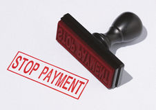 A stop payment stamp Stock Photo