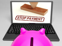 Stop Payment Stamp On Laptop Showing Rejected Stock Photo