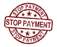 Stop Payment Stamp Shows Bill Transaction Denied Royalty Free Stock Photo