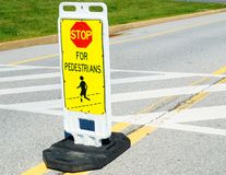 Stop Sign at Pedestrian Crossing  Royalty Free Stock Image