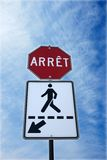 Stop with pedestrian sign royalty free stock image
