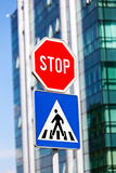 Stop and pedestrian signs royalty free stock photography