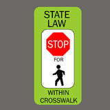 Stop for pedestrians in crosswalk. Royalty Free Stock Photo