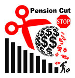 Stop Pension Cuts. Appeal not to lower the retirement benefits for retirees Royalty Free Stock Image