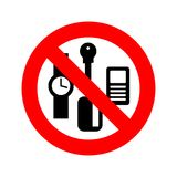 Stop personal things. Ban keys and phone. Cards and clocks. Red prohibitory sign vector illustration