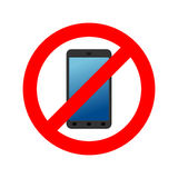 Stop phone. It is forbidden to call. Ban smartphone. Red Circle Royalty Free Stock Photo