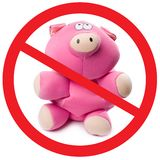Stop pig flu. Photo of pink soft toy pig with sign appealing to stop new virus Stock Image