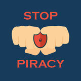 Stop Piracy .No piracy icon and  Royalty Free Stock Photos