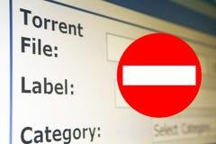 Stop piracy-torrent download internet. Stop piracy concept against torrent download Stock Photo