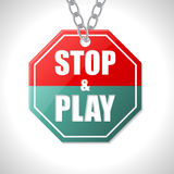 Stop and play traffic sign Royalty Free Stock Images