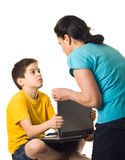 Stop playing!. Mother warning her son to stop playing - isolated stock images