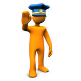 Stop! Police!. Orange cartoon character with police cap und symbol for stopping Stock Photos