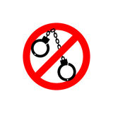 Stop police. handcuffs Prohibited sign. Ban cop Royalty Free Stock Image