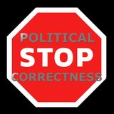 Stop political correctness sign. On a black background Stock Image