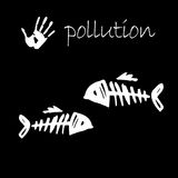 Stop pollution contrast fish sign. Sign of water pollution concept Royalty Free Stock Photo