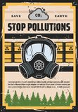 Stop pollution, ecology, environment contamination stock illustration