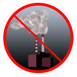 Stop the pollution sign. With Industrial site and smog inside Royalty Free Stock Images