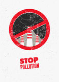 Stop Pollution sign with smokestacks. Environmental pollution poster. Vector illustration. Royalty Free Stock Photography
